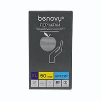 Перчатки BENOVY нитриловые неопудренные, 50 пар/уп., размер S