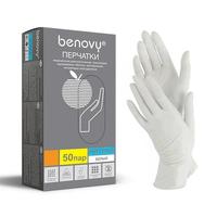 Перчатки BENOVY нитриловые неопудренные, 50пар/уп., размер XS